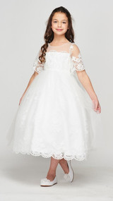 Blush Luxury Couture First Communion Dress With Lace Sleeves