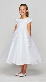 Beautiful Satin Tulle Tea Length Couture Communion Dress