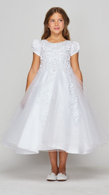 Lovely Blush Luxury Couture Tea Length First Communion Dress