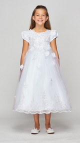 Couture Tea Length Communion Dress With Puffed Sleeves