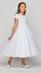 Girls Luxury Couture First Communion Dress With Beaded Bodice