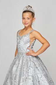 Stunning Blush Luxury Couture Metallic Glitter Girls Pageant Dress