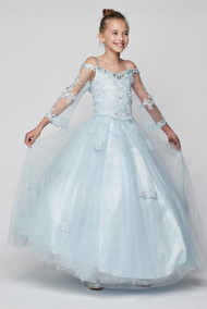 Girls Couture Pageant Dress With Off The Shoulder Neckline