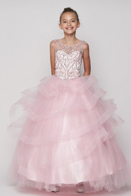 Magnificent Luxury Couture Crystal Beaded Girls Pageant Dress