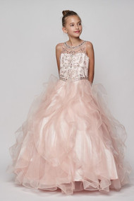 Beautiful Floor Length Couture Pageant Dress With Ruffled Skirt