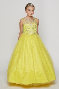 Stunning Girls Yellow Floor Length Pageant Dress With AB Crystals