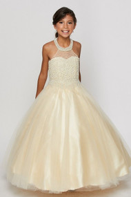 Winner Couture Girls Pageant Dress With Hand Made Pearl Bodice