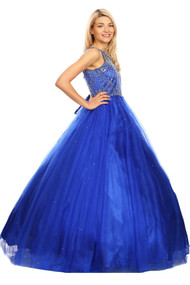Floor Length Couture Girls Pageant Dress With Halter Neckline