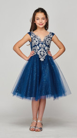 Girls Short Pageant Dress With Glitter Tulle Skirt And Corset Tie Back