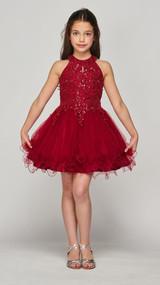 Stunning Girls Short Couture Pageant Dress With Crystal Sequin Bodice