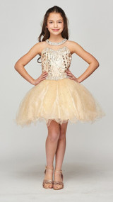 Luxury Couture Short Tulle Pageant Dress With Halter Neckline