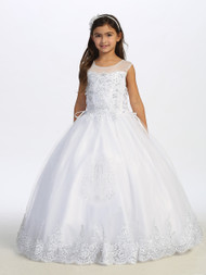 Beautiful 1st Communion Dress With Silver Embroidered Lace Bodice