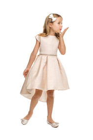 Girls Beautiful Jacquard Hi Lo Party Dress With Cap Sleeves