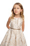 Girls Floral Jacquard And Tulle Pleated Special Occasion Dress
