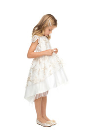 Darling Little Girls Floral Lace Special Occasion Dress With Hi Lo Skirt