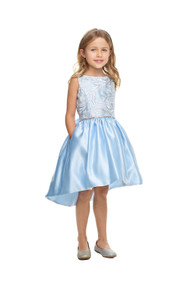 Little Girls Satin Party Dress With Lace Bodice And Hi Lo Skirt