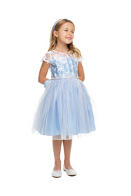 Girls Sheer Lace Overlay Party Dress With Tulle Skirt
