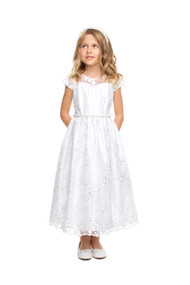 Girls Tea Length All Over Lace Communion Dress With Pearl Trim