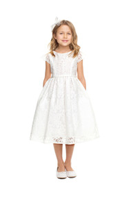 Girls Classic First Communion Dress With Lace Overlay