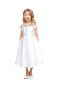 Charming First Communion Dress With Floral Lace And Tulle
