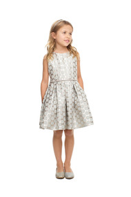 Girls Beautiful Metallic Jacquard Polka Dot Special Occasion Dress