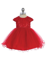 Charming Infant Baby Dress With Sequin Bodice And Tulle Skirt