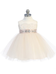 Baby Flower Girl Party Dress With Lace Bodice And Illusion Neckline