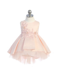 Infant Baby Special Occasion Party Satin Tulle Hi Lo Dress