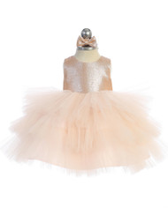 Beautiful Baby Party Dress With Glitter Bodice And Ruffle Skirt
