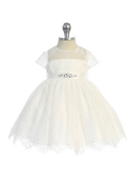 All Over Beautiful Lace Baby Special Occasion Dress With Sash