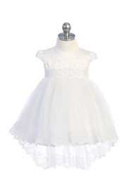 Infant Baby Dress With Satin Beaded Lace Overlay And Hi Lo Skirt