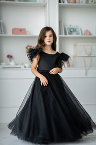 Black Satin Girls Special Occasion Dress With Long Tulle Skirt