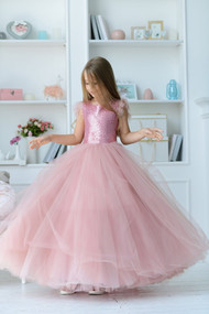 Couture Handmade Flower Girl Party Dress With Tulle And Sequins