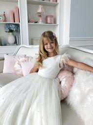 Chic Looking Girls Handmade Couture Tulle Velvet Ballgown