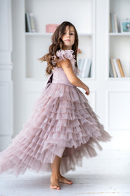 Girls Hi Lo Flower Girl Communion Dress With Ruffle Tulle Skirt