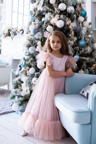 Girls Elegant Handmade Blush Pink Tulle Flower Girl Party Dress