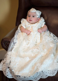 Exquisite Baby Christening Baptismal Gown With Alencon Lace