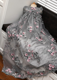 Baby Baptismal Floral Gown With Matching Bonnet And Shoes
