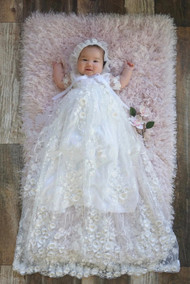 Breathtaking Couture Baptismal Baby Christening Gown With 3D Lace