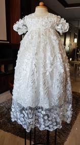Handcrafted Baby All Over Floral Lace Baptism Gown With Hand Beading