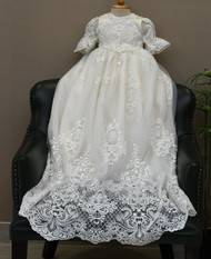 Luxurious Beaded Lace Baptism Christening Gown For Baby