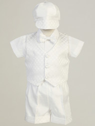 Infant Baby Christening Suit Set With Bow Tie And Shorts