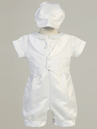 Handsome Infant Boys Satin Christening Outfit With Cap