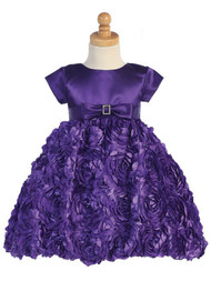 Girls Beautiful Purple Dress With Gorgeous Ribbon Swirl Skirt