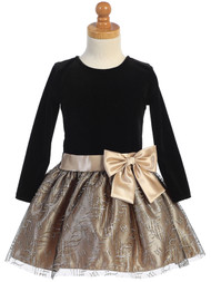 Girls Adorable Holiday Dress With Velvet Bodice And Glitter Skirt