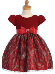 Little Girls Glitter Velvet Special Occasion Dress For Holiday