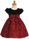Girls Holiday Dress With Velvet Bodice And Floral Jacquard Skirt