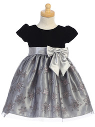 Infant Baby And Girls Silver Party Dress For The Holidays