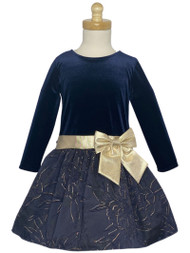 Girls Special Occasion Stretch Velvet Dress With Jacquard Skirt