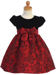 Little Girls Velvet Jacquard Holiday Dress With Cap Sleeves